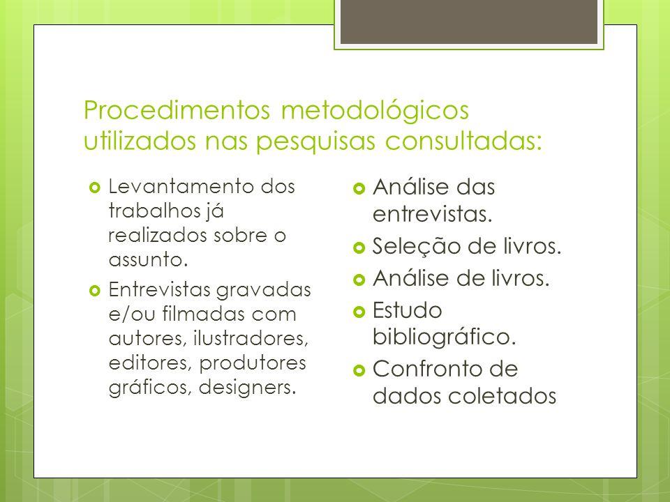 Procedimentos metodológicos utilizados nas pesquisas consultadas: