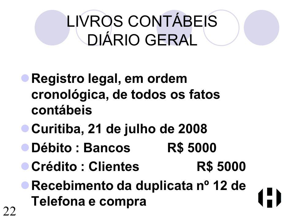 LIVROS CONTÁBEIS DIÁRIO GERAL
