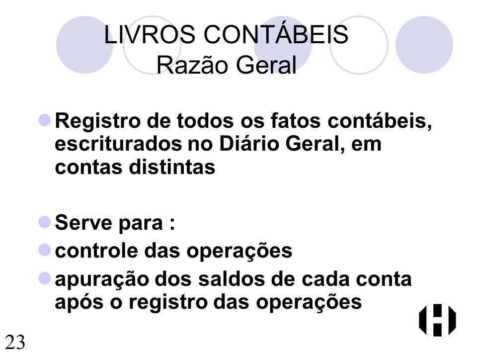 LIVROS CONTÁBEIS Razão Geral