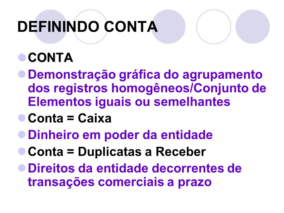 DEFININDO CONTA CONTA. Demonstração gráfica do agrupamento dos registros homogêneos/Conjunto de Elementos iguais ou semelhantes.