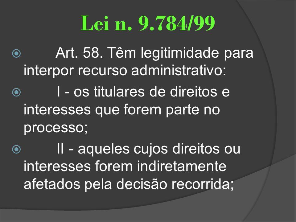 Lei n. 9.784/99 Art. 58. Têm legitimidade para interpor recurso administrativo: