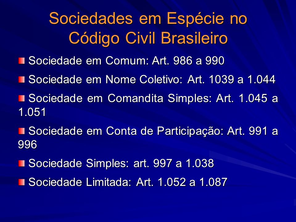 Sociedades em Espécie no Código Civil Brasileiro