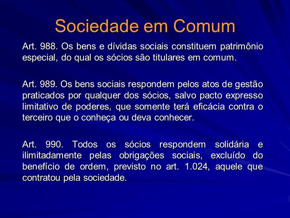 Sociedade em Comum Art. 988. Os bens e dívidas sociais constituem patrimônio especial, do qual os sócios são titulares em comum.