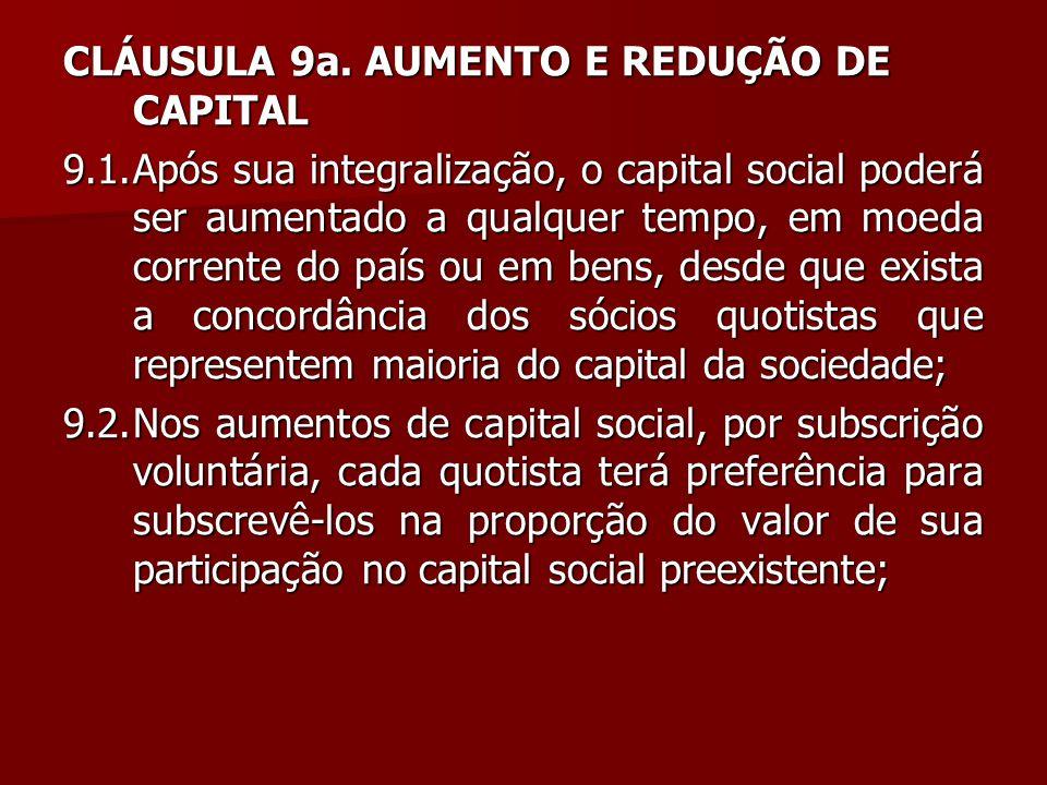 CLÁUSULA 9a. AUMENTO E REDUÇÃO DE CAPITAL