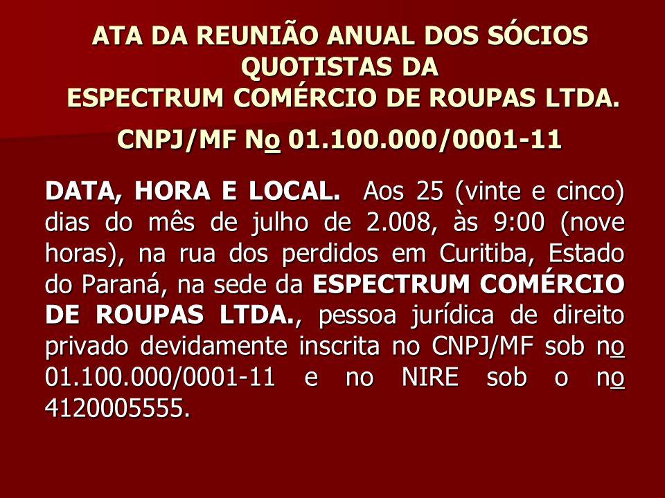 ATA DA REUNIÃO ANUAL DOS SÓCIOS QUOTISTAS DA ESPECTRUM COMÉRCIO DE ROUPAS LTDA. CNPJ/MF No 01.100.000/0001-11
