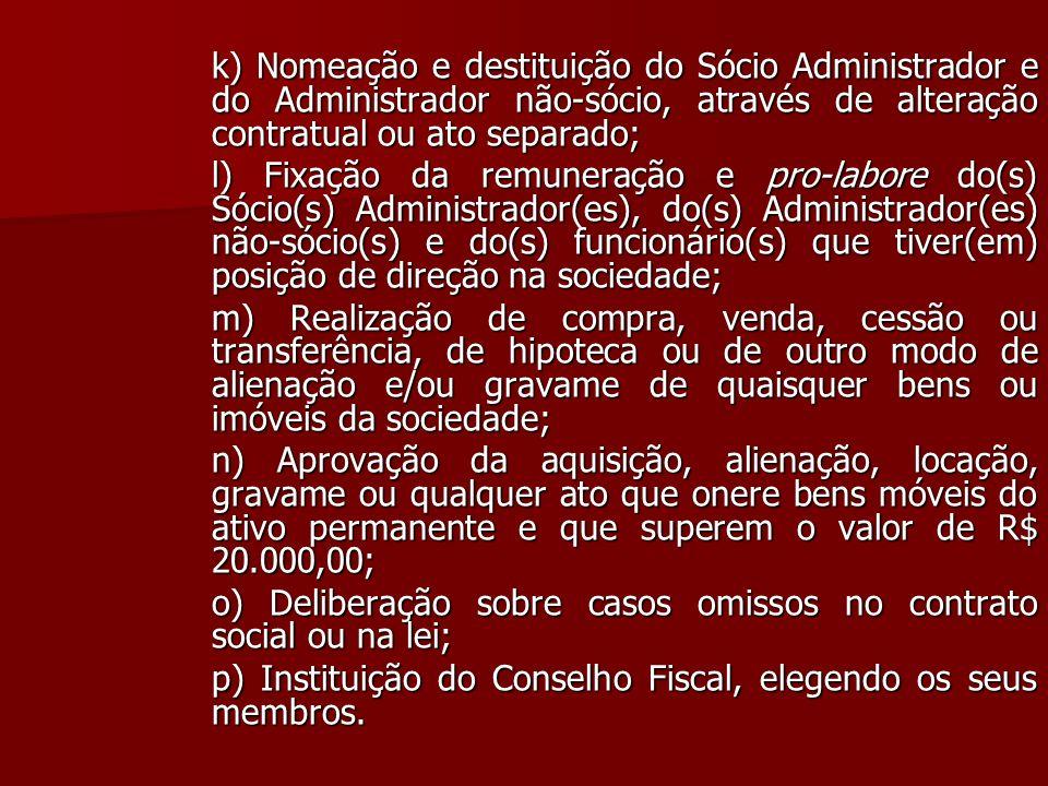 k) Nomeação e destituição do Sócio Administrador e do Administrador não-sócio, através de alteração contratual ou ato separado;