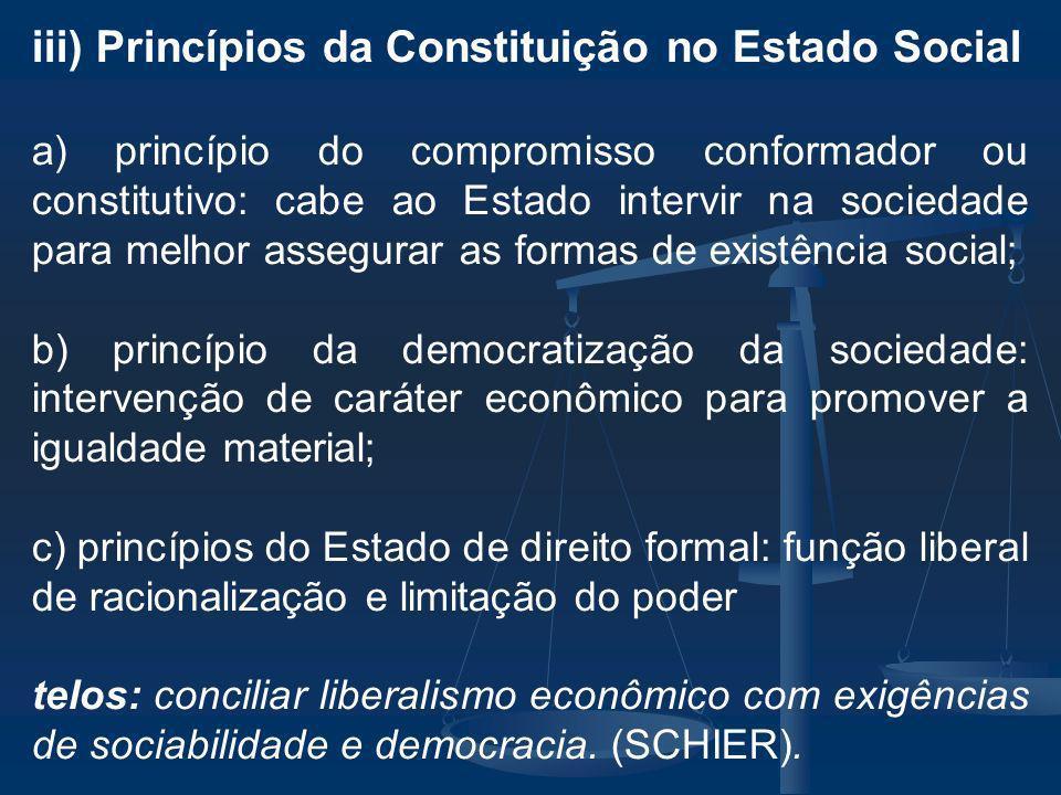iii) Princípios da Constituição no Estado Social
