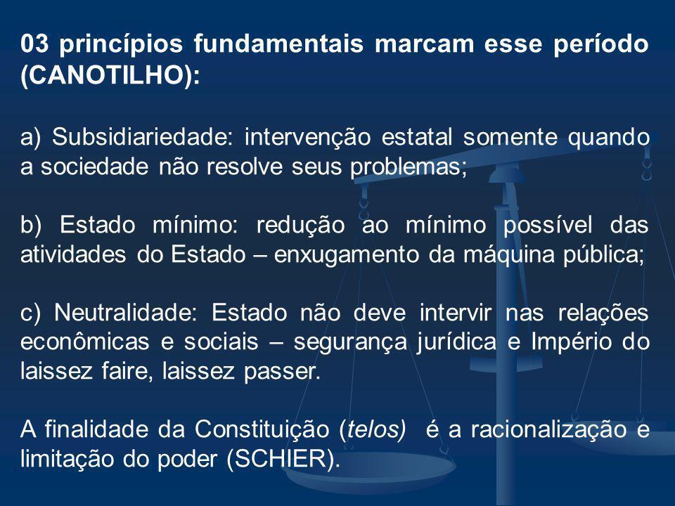 03 princípios fundamentais marcam esse período (CANOTILHO):
