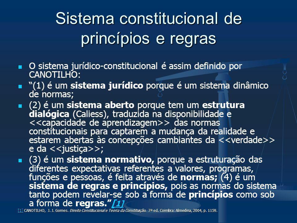 Sistema constitucional de princípios e regras