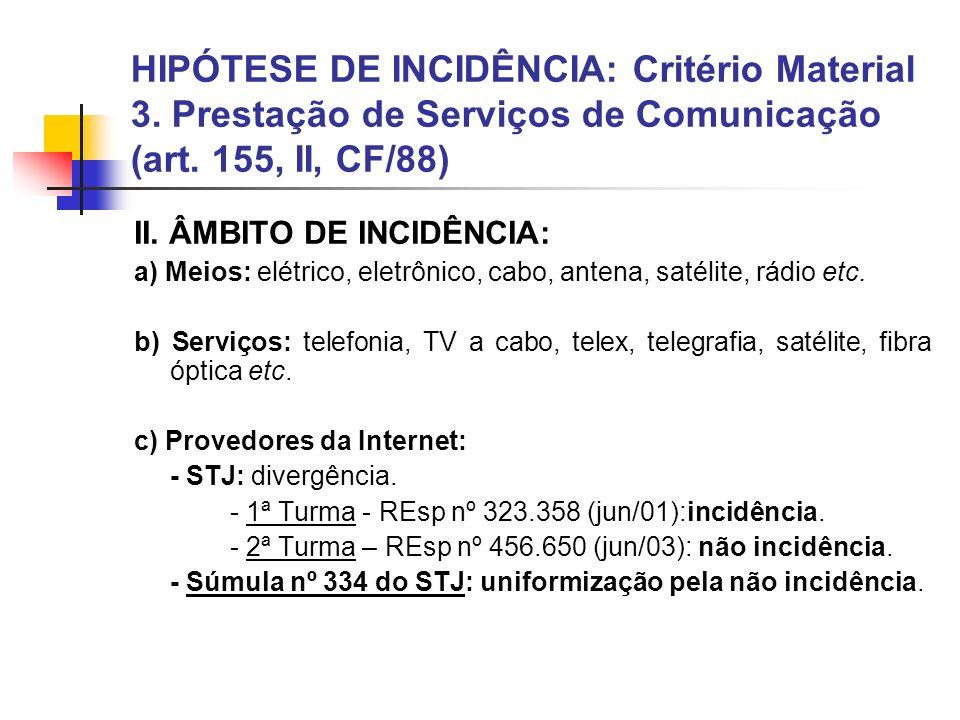 HIPÓTESE DE INCIDÊNCIA: Critério Material 3