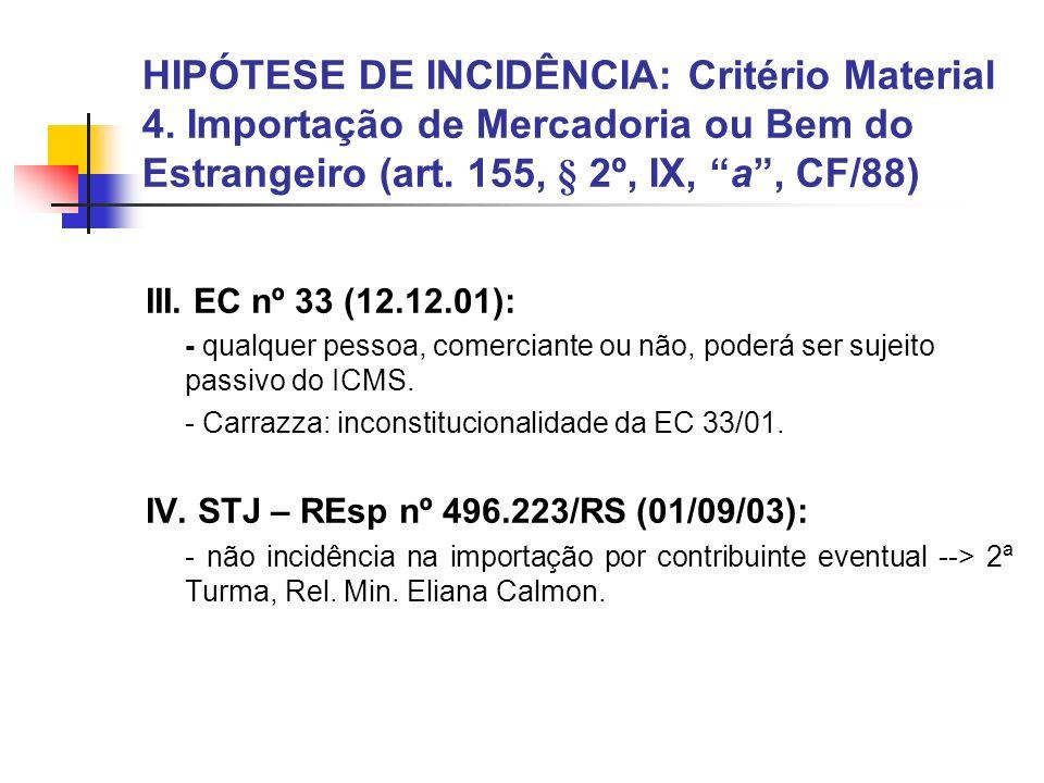HIPÓTESE DE INCIDÊNCIA: Critério Material 4