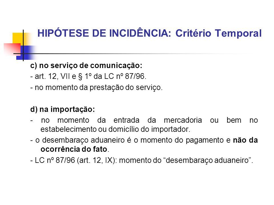 HIPÓTESE DE INCIDÊNCIA: Critério Temporal