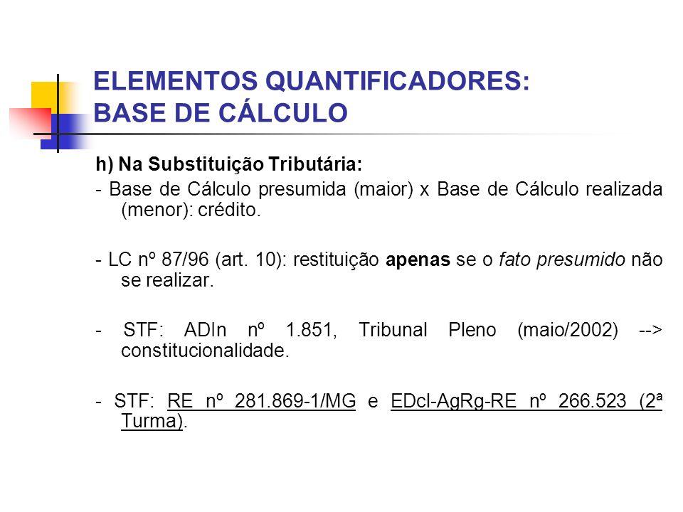 ELEMENTOS QUANTIFICADORES: BASE DE CÁLCULO