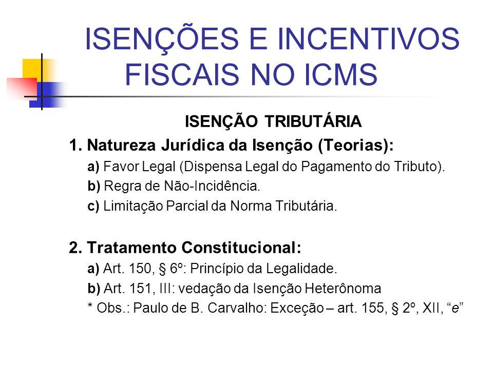 ISENÇÕES E INCENTIVOS FISCAIS NO ICMS