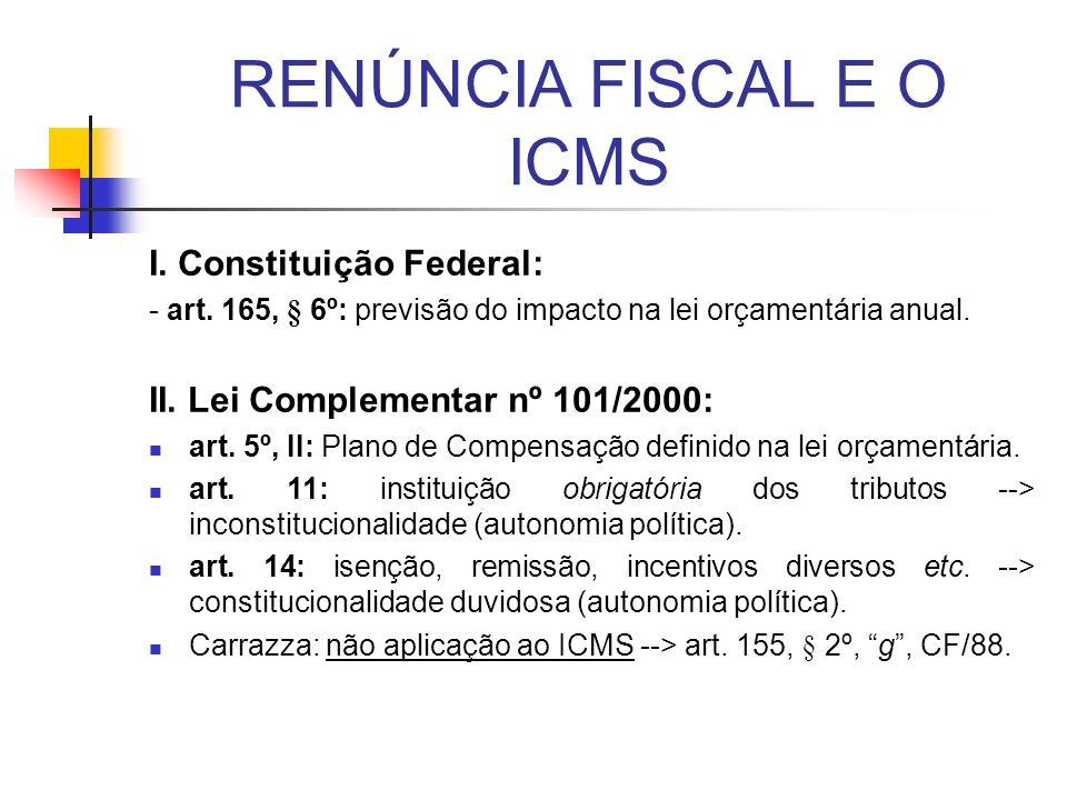RENÚNCIA FISCAL E O ICMS
