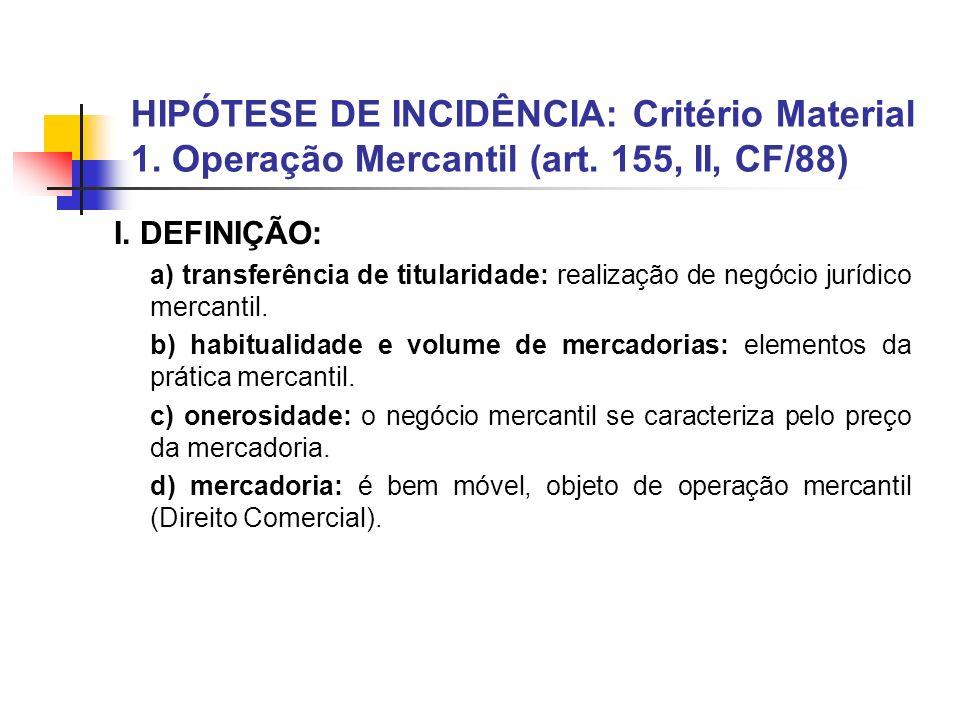 HIPÓTESE DE INCIDÊNCIA: Critério Material 1. Operação Mercantil (art