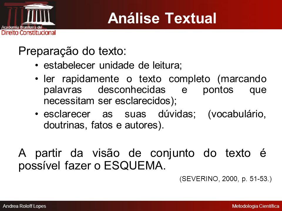 Análise Textual Preparação do texto:
