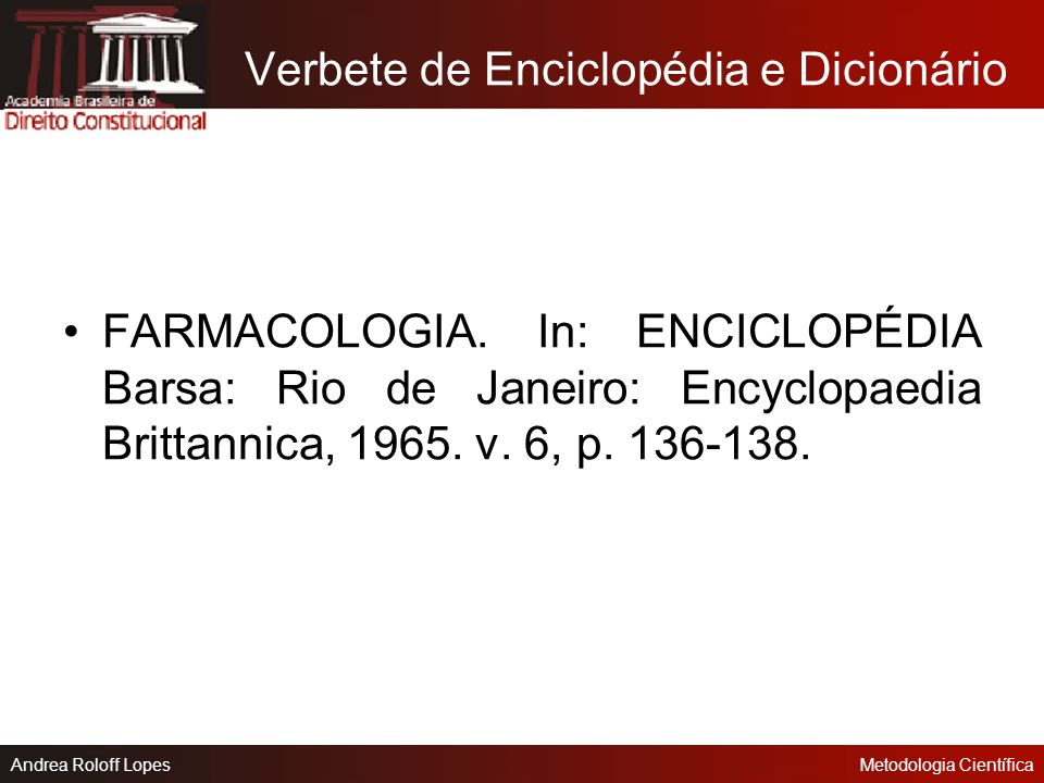 Verbete de Enciclopédia e Dicionário