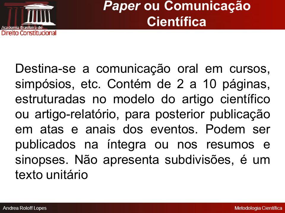 Paper ou Comunicação Científica