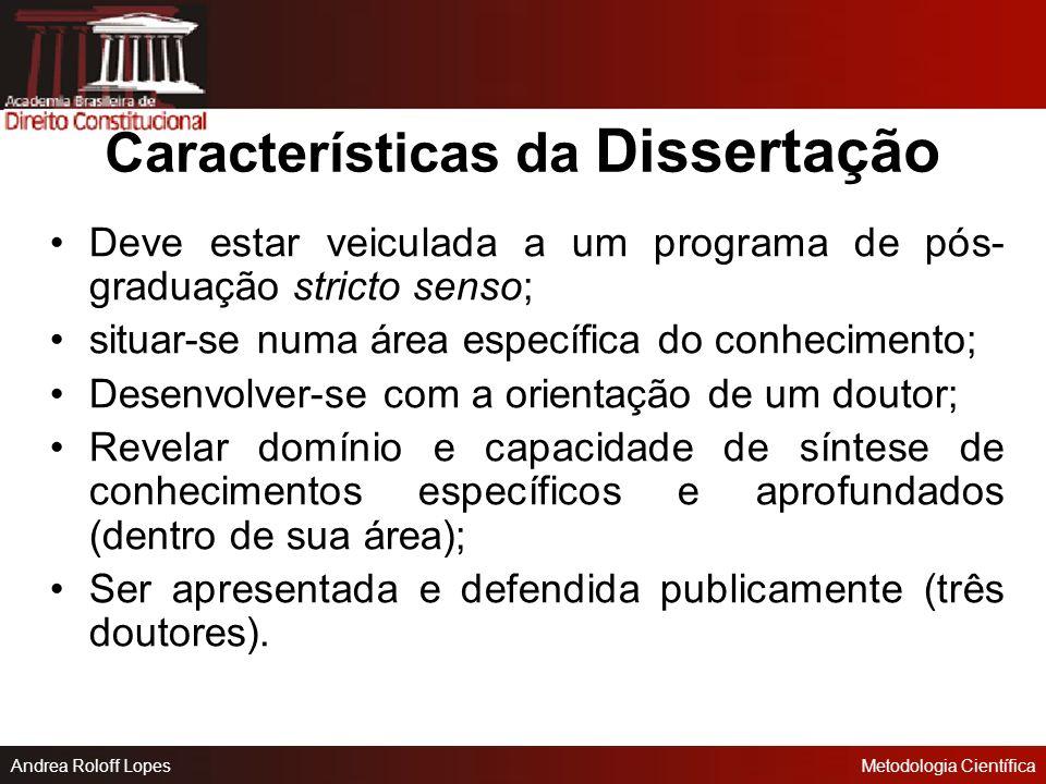 Características da Dissertação