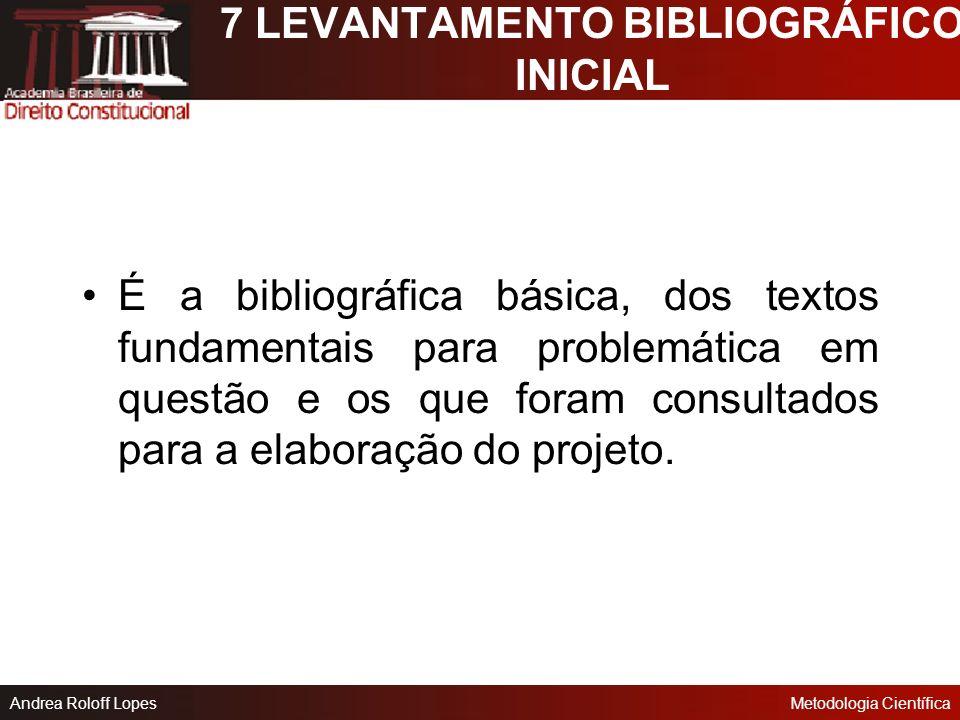 7 LEVANTAMENTO BIBLIOGRÁFICO INICIAL