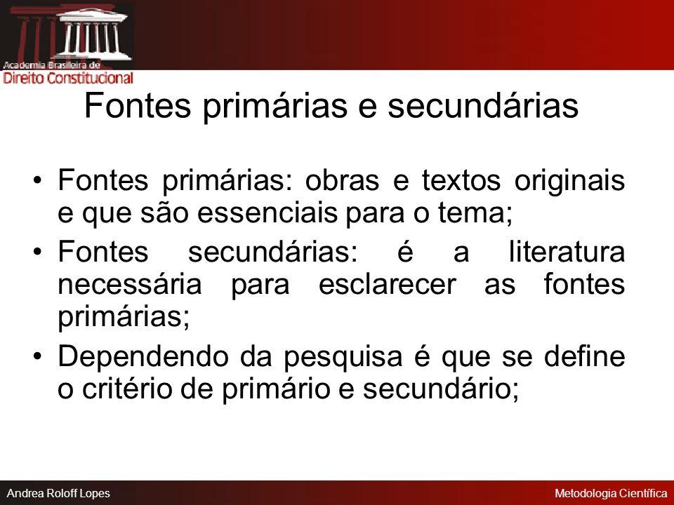 Fontes primárias e secundárias