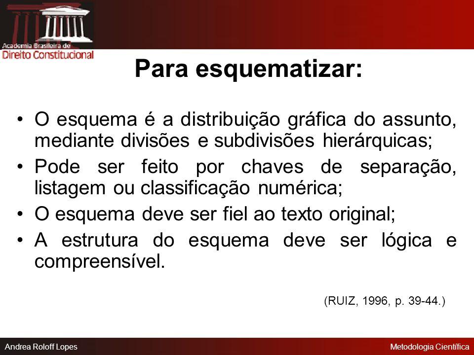 Para esquematizar: O esquema é a distribuição gráfica do assunto, mediante divisões e subdivisões hierárquicas;