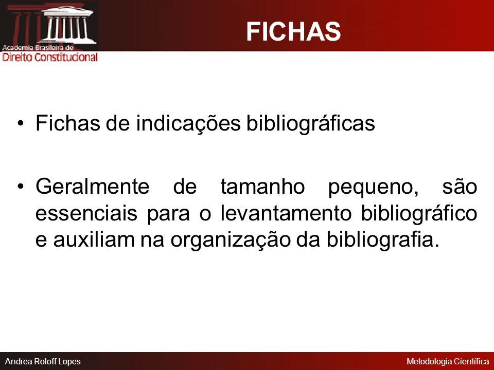 FICHAS Fichas de indicações bibliográficas
