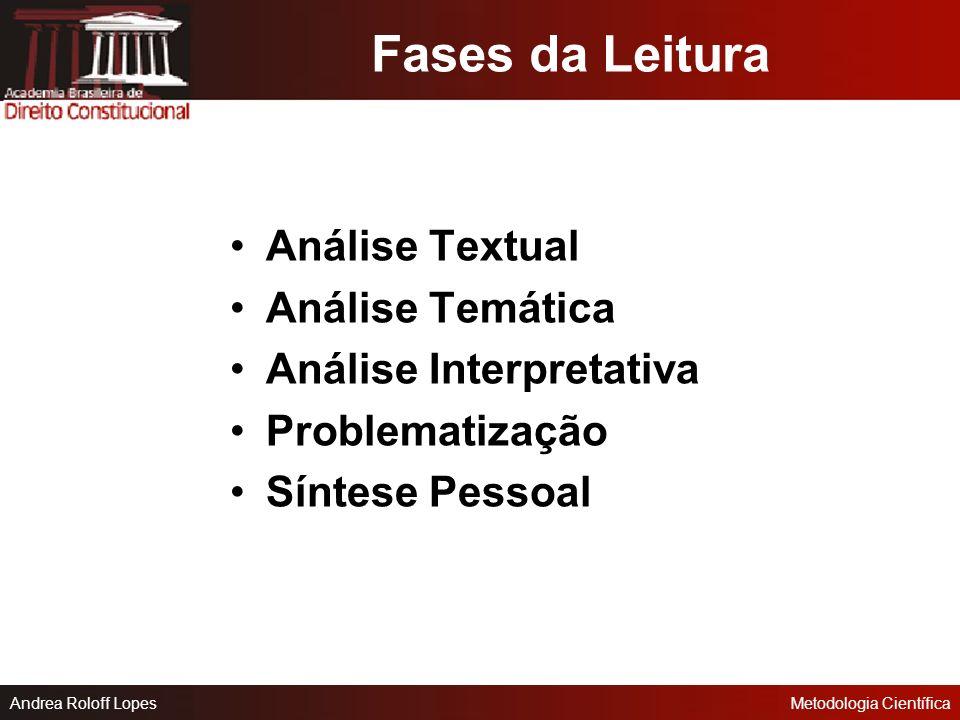 Fases da Leitura Análise Textual Análise Temática