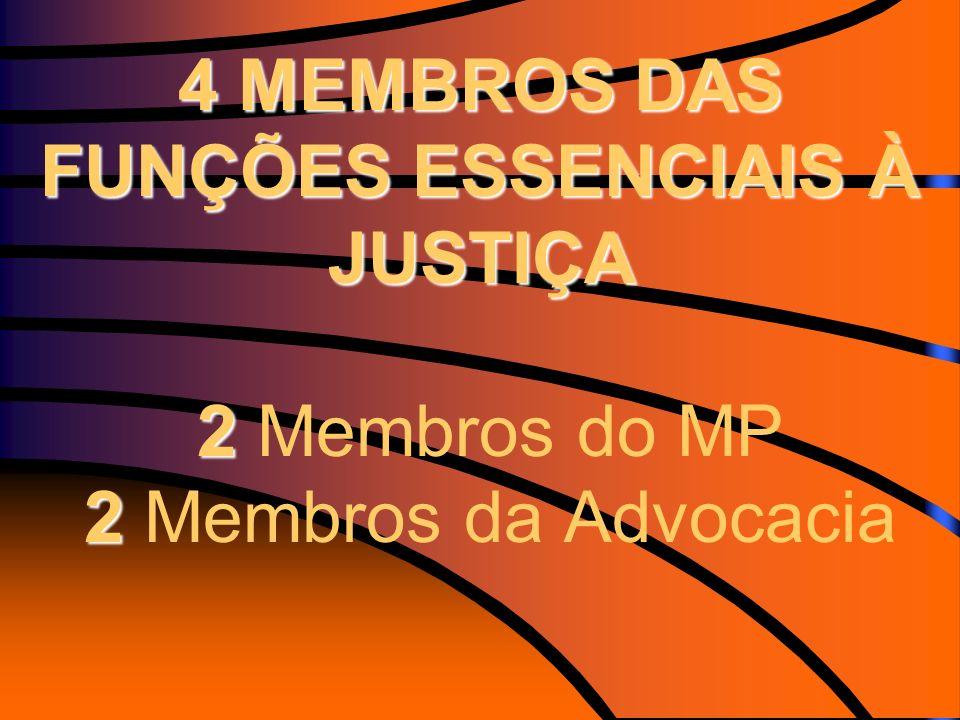 4 MEMBROS DAS FUNÇÕES ESSENCIAIS À JUSTIÇA 2 Membros do MP 2 Membros da Advocacia
