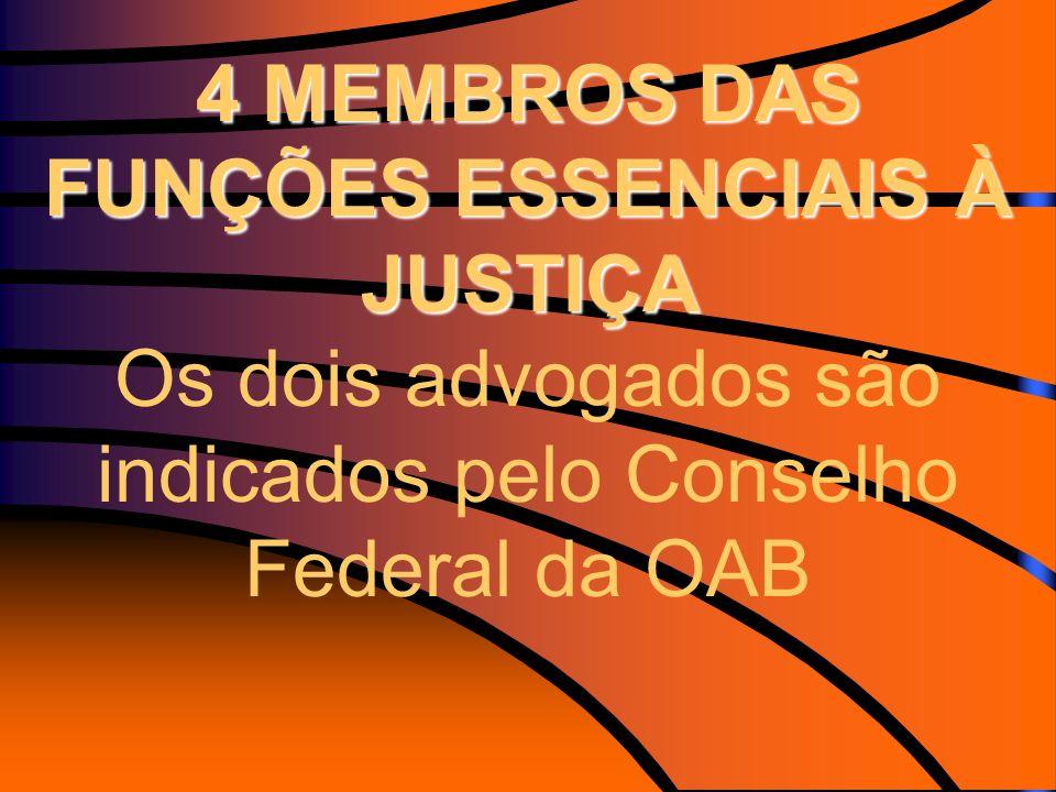 4 MEMBROS DAS FUNÇÕES ESSENCIAIS À JUSTIÇA Os dois advogados são indicados pelo Conselho Federal da OAB