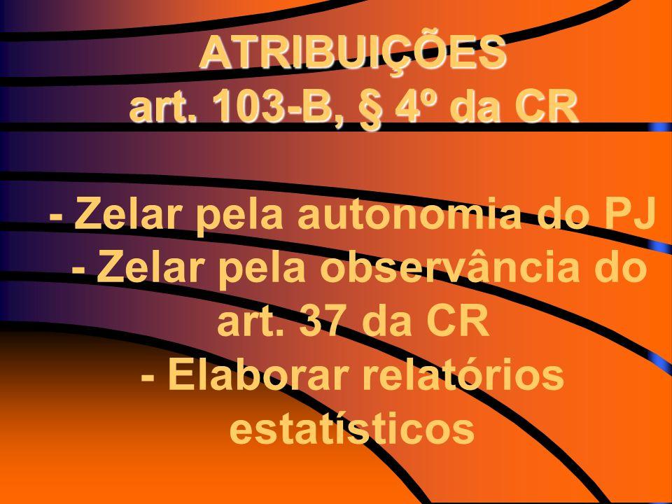 ATRIBUIÇÕES art. 103-B, § 4º da CR - Zelar pela autonomia do PJ - Zelar pela observância do art.