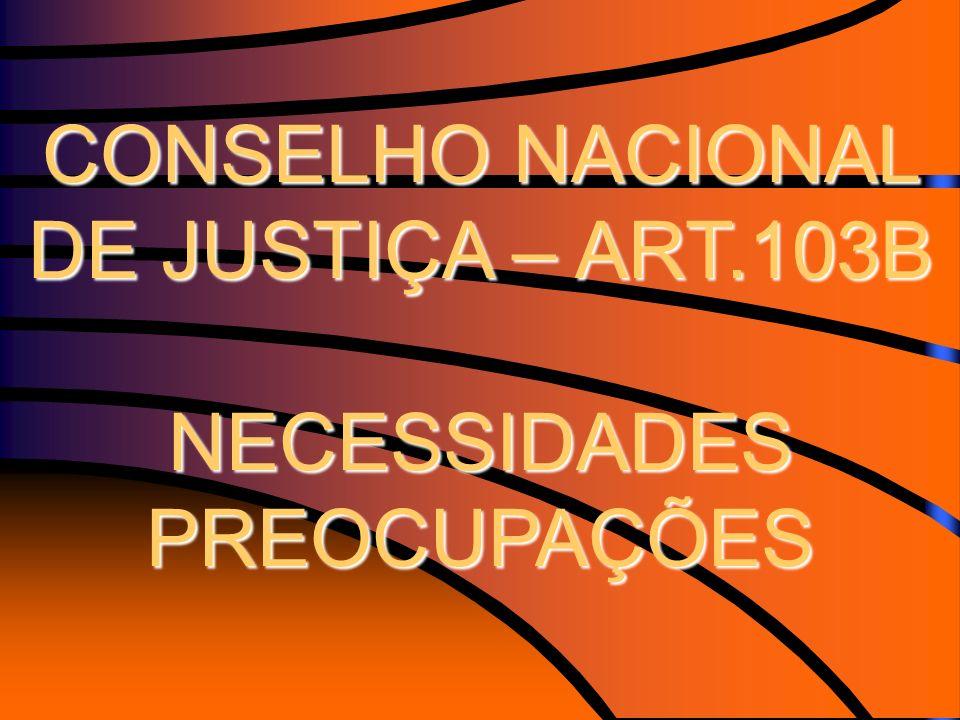 CONSELHO NACIONAL DE JUSTIÇA – ART.103B NECESSIDADES PREOCUPAÇÕES