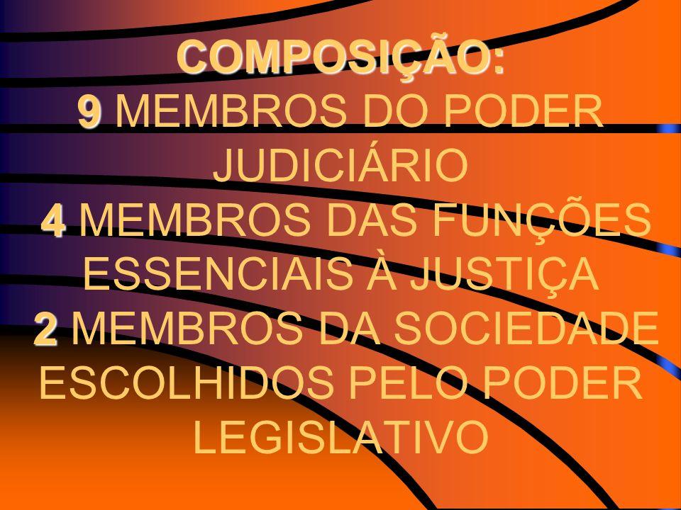 COMPOSIÇÃO: 9 MEMBROS DO PODER JUDICIÁRIO 4 MEMBROS DAS FUNÇÕES ESSENCIAIS À JUSTIÇA 2 MEMBROS DA SOCIEDADE ESCOLHIDOS PELO PODER LEGISLATIVO