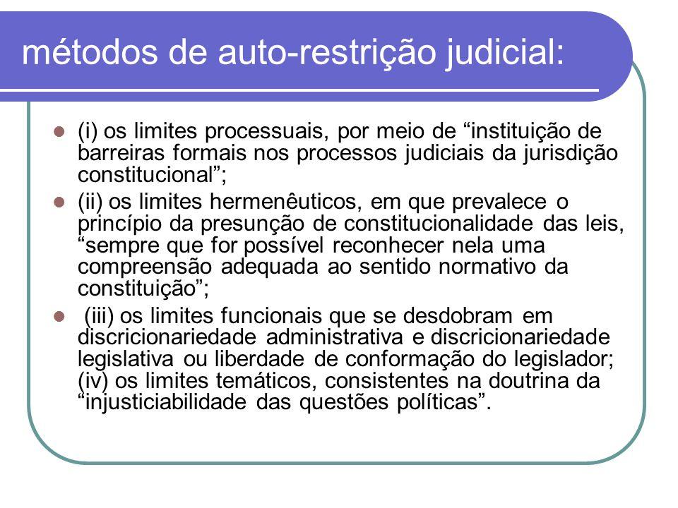 métodos de auto-restrição judicial: