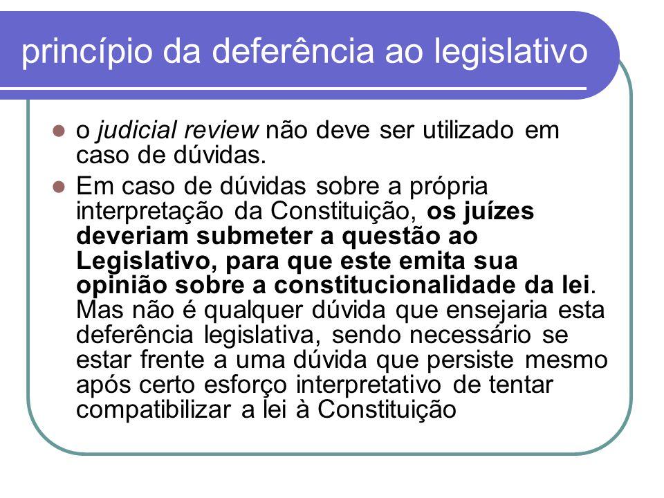 princípio da deferência ao legislativo