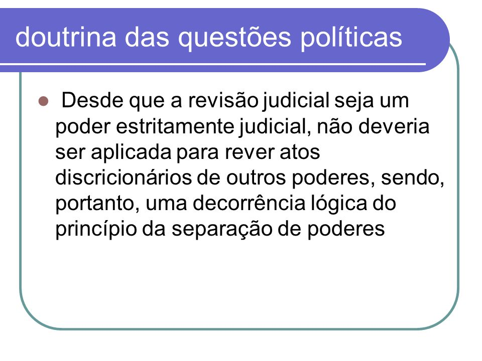 doutrina das questões políticas