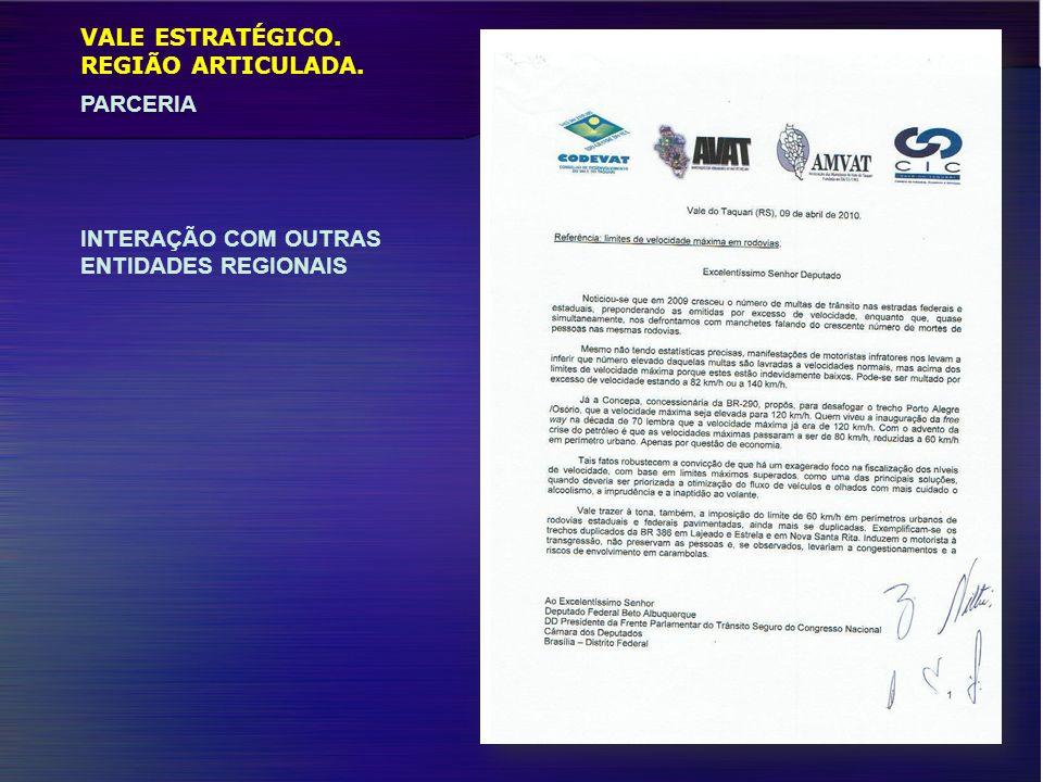 VALE ESTRATÉGICO. REGIÃO ARTICULADA. PARCERIA INTERAÇÃO COM OUTRAS ENTIDADES REGIONAIS