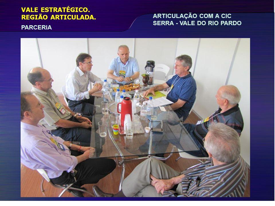 VALE ESTRATÉGICO. REGIÃO ARTICULADA. ARTICULAÇÃO COM A CIC SERRA - VALE DO RIO PARDO PARCERIA