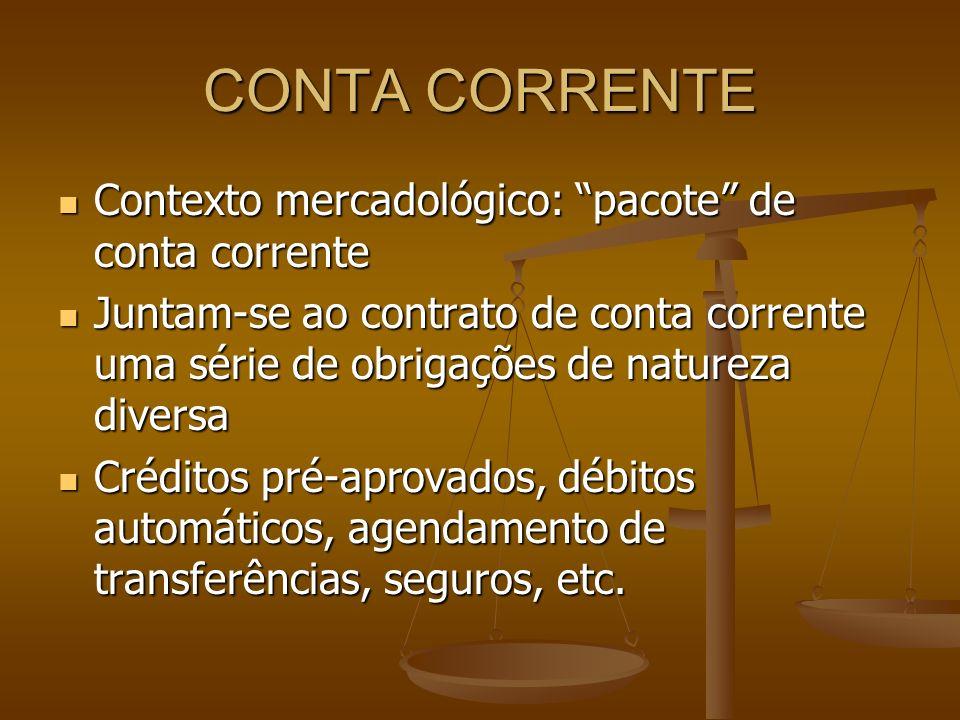 CONTA CORRENTE Contexto mercadológico: pacote de conta corrente