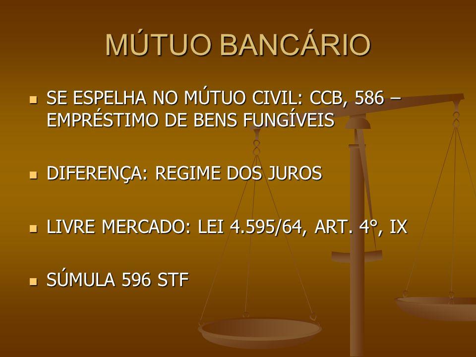 MÚTUO BANCÁRIO SE ESPELHA NO MÚTUO CIVIL: CCB, 586 – EMPRÉSTIMO DE BENS FUNGÍVEIS. DIFERENÇA: REGIME DOS JUROS.