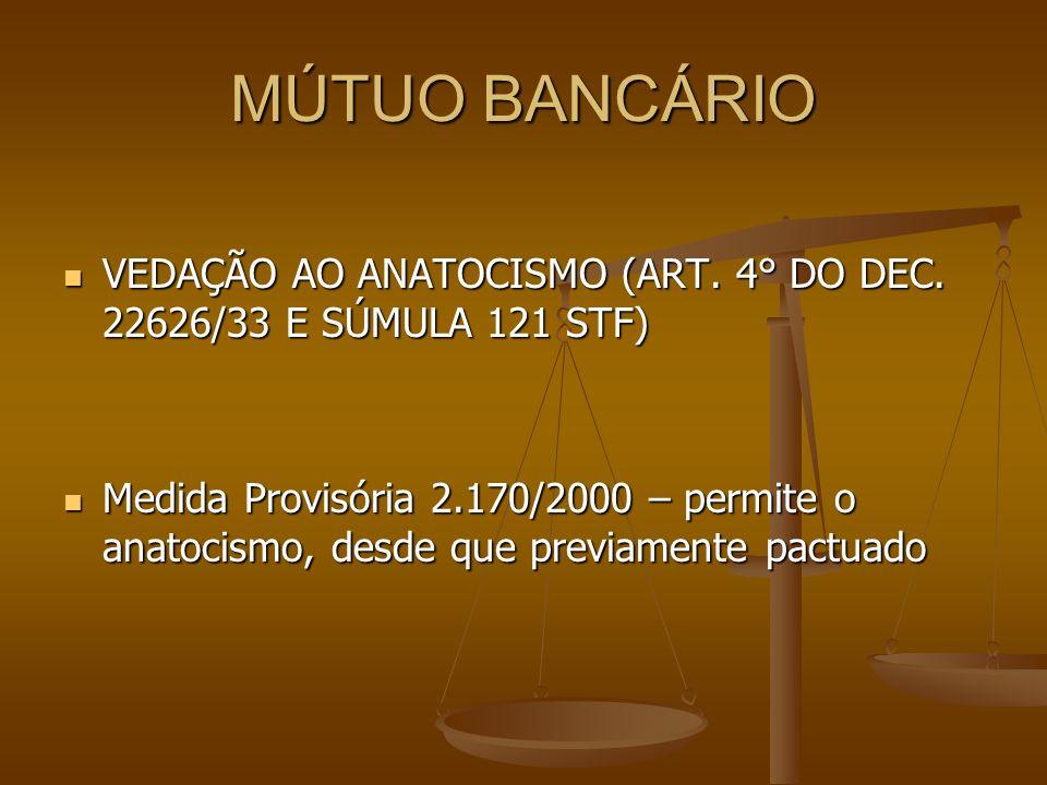 MÚTUO BANCÁRIO VEDAÇÃO AO ANATOCISMO (ART. 4° DO DEC. 22626/33 E SÚMULA 121 STF)