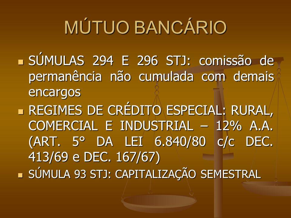 MÚTUO BANCÁRIO SÚMULAS 294 E 296 STJ: comissão de permanência não cumulada com demais encargos.