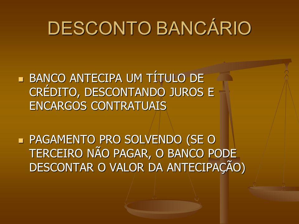 DESCONTO BANCÁRIO BANCO ANTECIPA UM TÍTULO DE CRÉDITO, DESCONTANDO JUROS E ENCARGOS CONTRATUAIS.