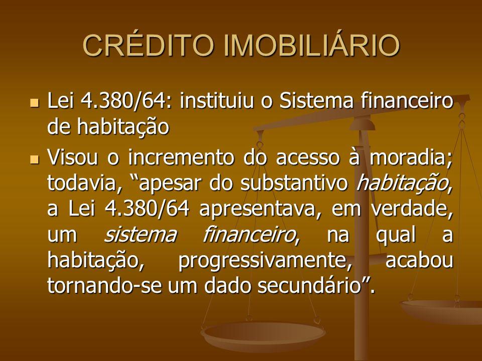 CRÉDITO IMOBILIÁRIO Lei 4.380/64: instituiu o Sistema financeiro de habitação.