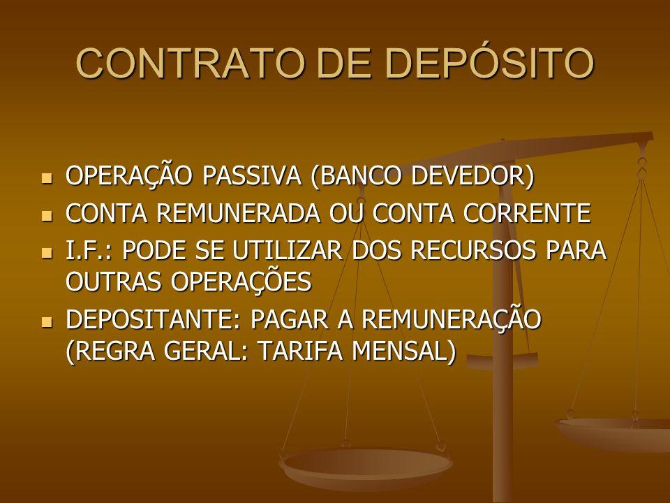 CONTRATO DE DEPÓSITO OPERAÇÃO PASSIVA (BANCO DEVEDOR)