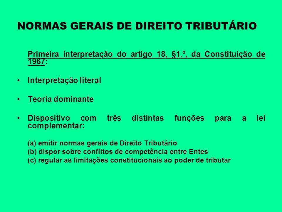 NORMAS GERAIS DE DIREITO TRIBUTÁRIO