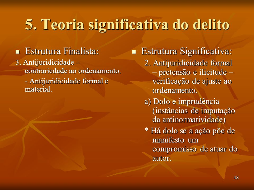 5. Teoria significativa do delito