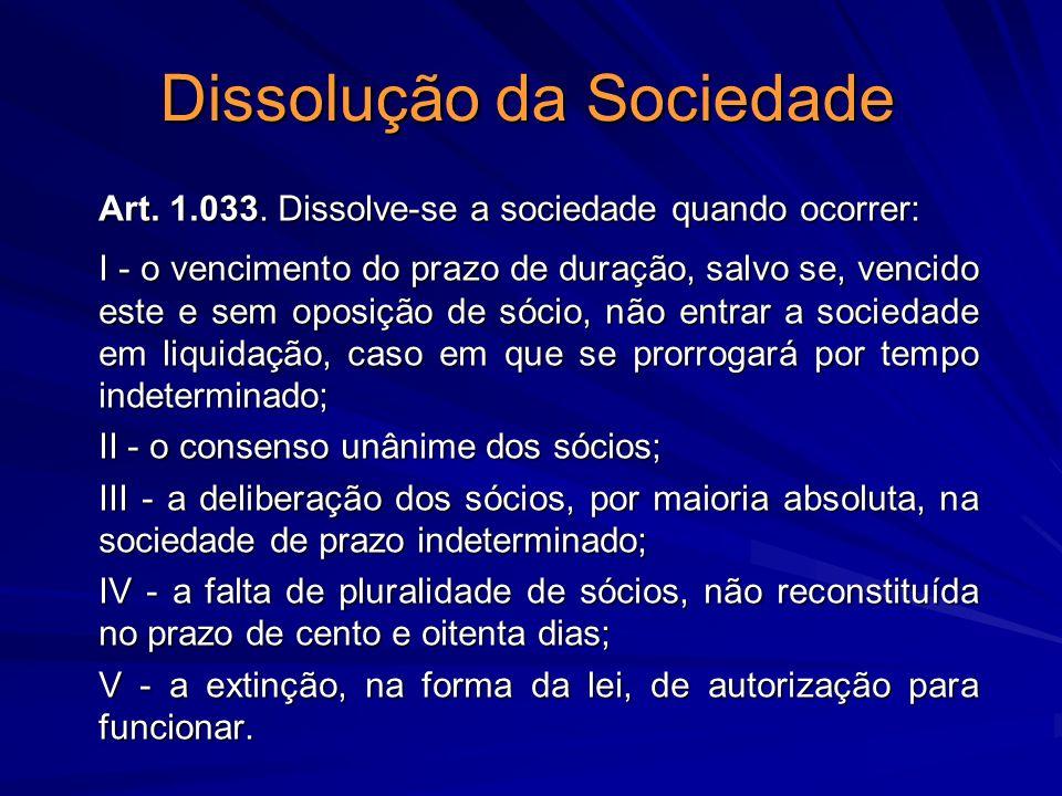 Dissolução da Sociedade
