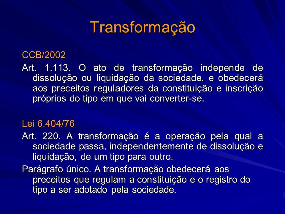 Transformação CCB/2002.